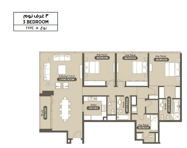 Planning of the apartment 3BR, 1829.33 in Lamar Residence, Abu Dhabi