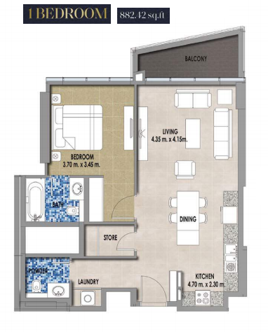 Planning of the apartment 1BR, 882.42 in Royal Pearls, Dubai