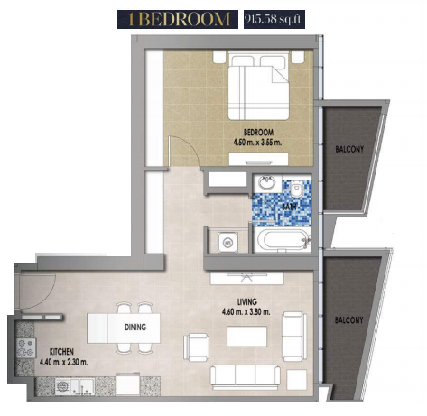 Planning of the apartment 1BR, 915.58 in Royal Pearls, Dubai
