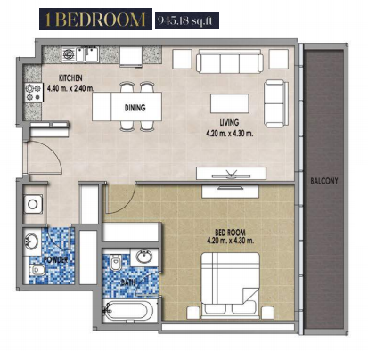 Planning of the apartment 1BR, 915.18 in Royal Pearls, Dubai