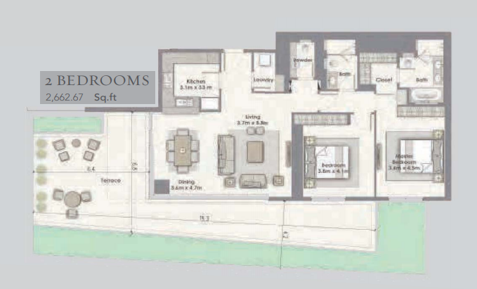 Planning of the apartment 2BR, 2662.67 in Dubai Creek Residences, Dubai