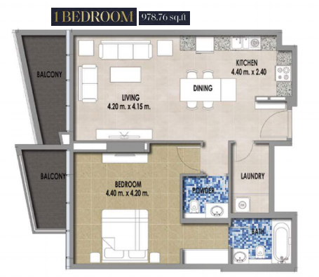Planning of the apartment 1BR, 978.76 in Royal Pearls, Dubai