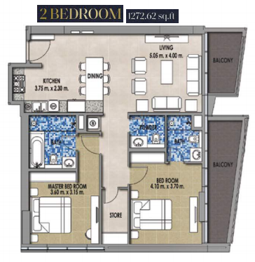 Planning of the apartment 2BR, 1272.62 in Royal Pearls, Dubai