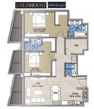 Planning of the apartment 2BR, 4448.18 in Royal Pearls, Dubai
