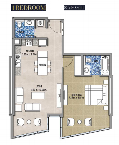Planning of the apartment 1BR, 832.8 in Royal Pearls, Dubai