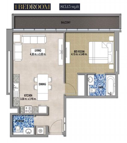 Planning of the apartment 1BR, 815.13 in Royal Pearls, Dubai