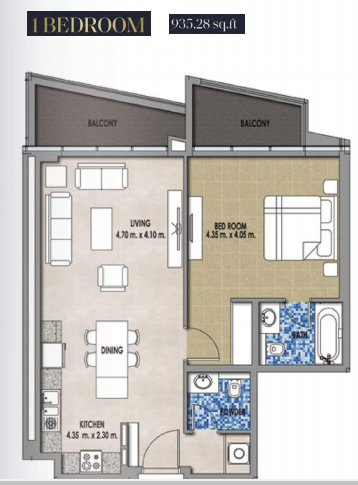 Planning of the apartment 1BR, 935.28 in Royal Pearls, Dubai