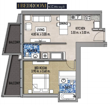 Planning of the apartment 4BR, 837.86 in Royal Pearls, Dubai