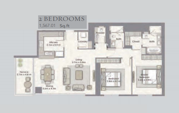 Planning of the apartment 2BR, 1567.01 in Dubai Creek Residences, Dubai