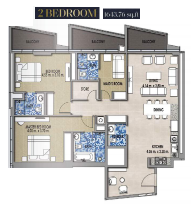 Planning of the apartment 2BR, 1643.76 in Royal Pearls, Dubai