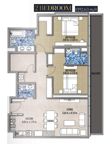 Planning of the apartment 2BR, 1392.63 in Royal Pearls, Dubai