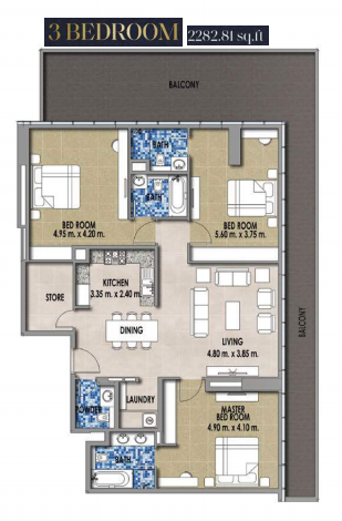 Planning of the apartment 3BR, 2282.81 in Royal Pearls, Dubai
