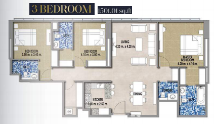 Planning of the apartment 3BR, 1501.01 in Royal Pearls, Dubai