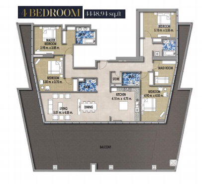 Planning of the apartment 4BR, 4448.94 in Royal Pearls, Dubai