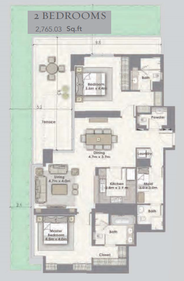 Planning of the apartment 2BR, 2765.03 in Dubai Creek Residences, Dubai