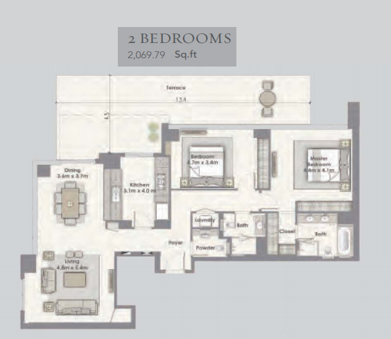 Planning of the apartment 2BR, 2069.79 in Dubai Creek Residences, Dubai