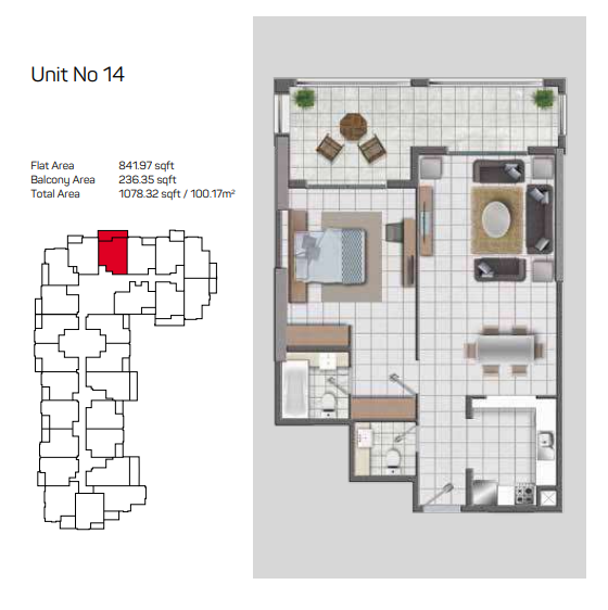 Planning of the apartment 1BR, 1078.32 in Topaz Premium Residences, Dubai