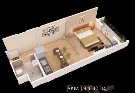 Planning of the apartment Studios, 448.42 in Gardenia Residency, Dubai