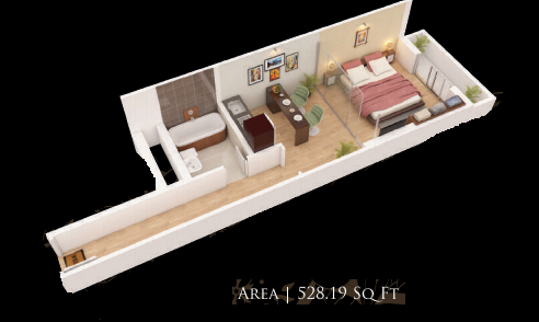 Planning of the apartment Studios, 528.19 in Gardenia Residency, Dubai