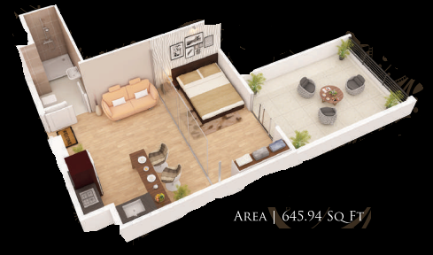 Planning of the apartment Studios, 645.94 in Gardenia Residency, Dubai