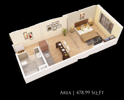 Planning of the apartment Studios, 478.99 in Gardenia Residency, Dubai