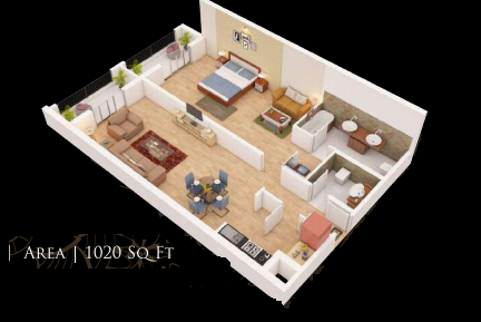 Planning of the apartment 1BR, 1020 in Gardenia Residency, Dubai