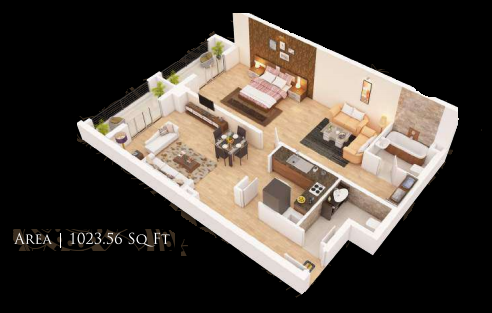 Planning of the apartment 1BR, 1023.56 in Gardenia Residency, Dubai