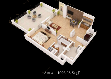 Planning of the apartment 1BR, 1093.08 in Gardenia Residency, Dubai