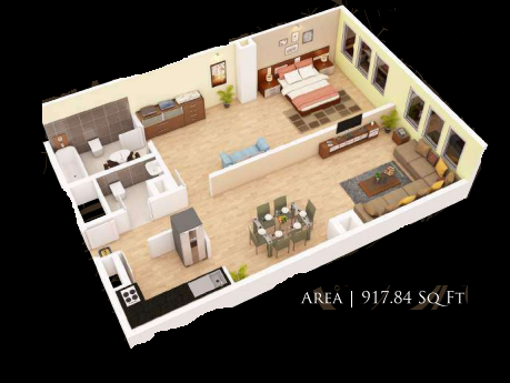 Planning of the apartment 1BR, 917.84 in Gardenia Residency, Dubai