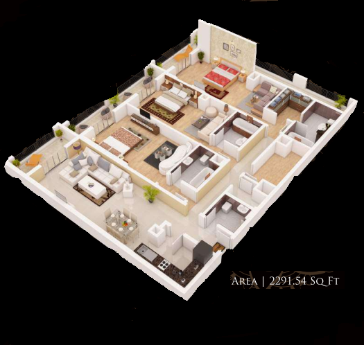 Planning of the apartment 3BR, 2291.54 in Gardenia Residency, Dubai