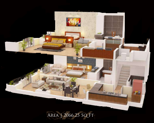Planning of the apartment 3BR, 2066.25 in Gardenia Residency, Dubai