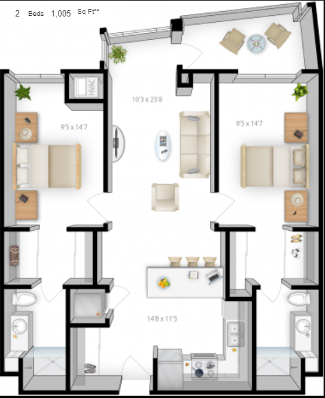 Planning of the apartment 2BR, 1005 in The Bridges Apartments, Abu Dhabi