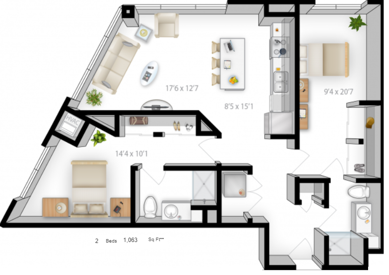 Planning of the apartment 2BR, 1063 in The Bridges Apartments, Abu Dhabi