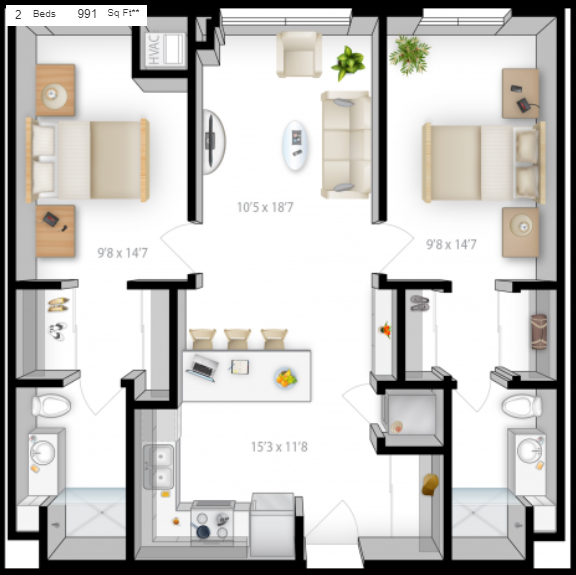 Planning of the apartment 2BR, 991 in The Bridges Apartments, Abu Dhabi