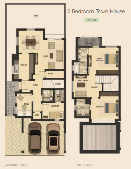 Planning of the apartment Townhouses, 2137.84 in Saadiyat Lagoons District Townhouses, Abu Dhabi