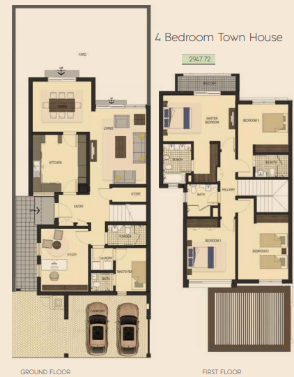 Planning of the apartment Townhouses, 2947.72 in Saadiyat Lagoons District Townhouses, Abu Dhabi