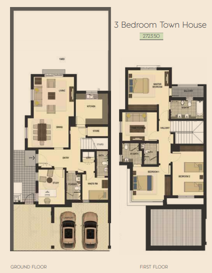 Planning of the apartment Townhouses, 2725.5 in Saadiyat Lagoons District Townhouses, Abu Dhabi