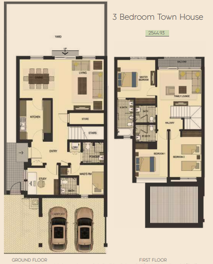 Planning of the apartment Townhouses, 2544.93 in Saadiyat Lagoons District Townhouses, Abu Dhabi