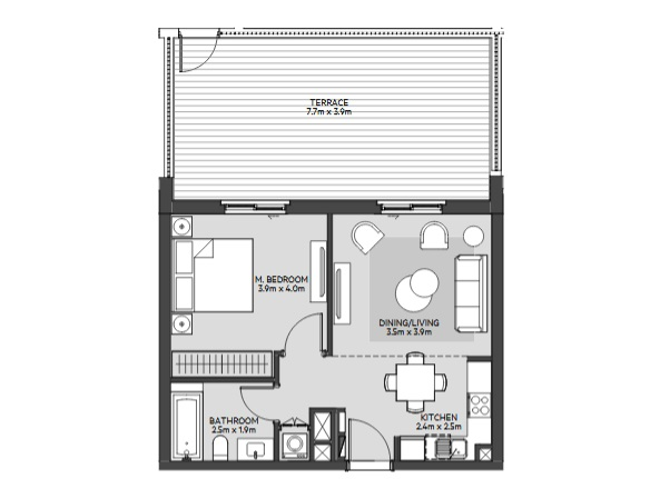 Planning of the apartment 1BR, 582 in Maryam Island, Sharjah