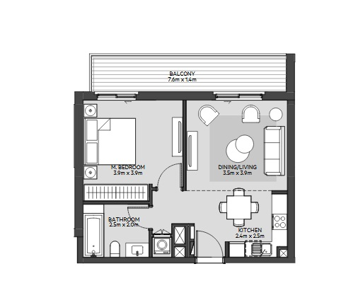 Planning of the apartment 1BR, 593 in Maryam Island, Sharjah