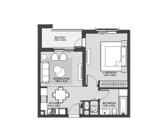 Planning of the apartment 1BR, 697 in Maryam Island, Sharjah