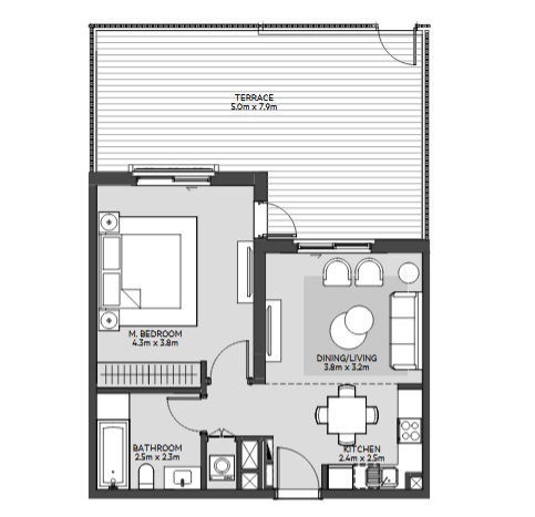 Planning of the apartment 1BR, 630 in Maryam Island, Sharjah