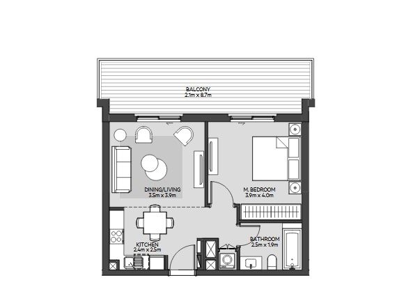 Planning of the apartment 1BR, 783 in Maryam Island, Sharjah