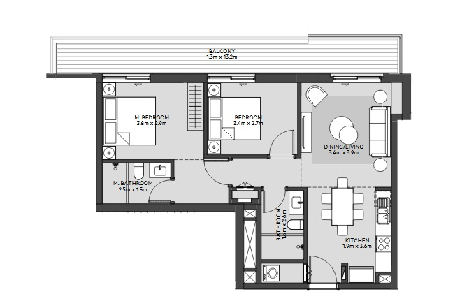 Planning of the apartment 2BR, 990 in Maryam Island, Sharjah