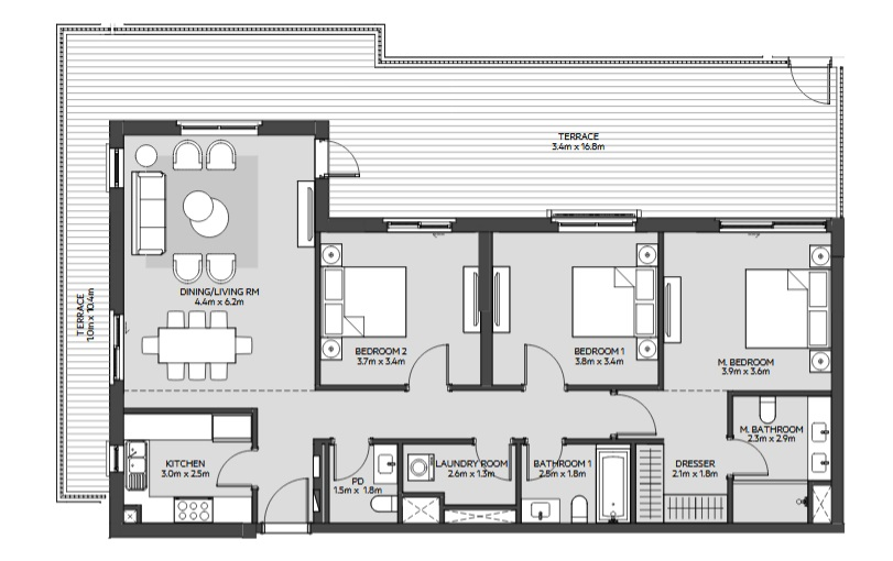 Planning of the apartment 3BR, 1431 in Maryam Island, Sharjah