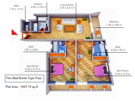 Planning of the apartment 2BR, 1843.74 in Smart Tower 1, Ajman