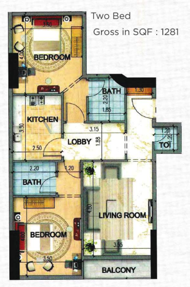 Planning of the apartment 2BR, 1281 in Art Tower Apartments, Sharjah