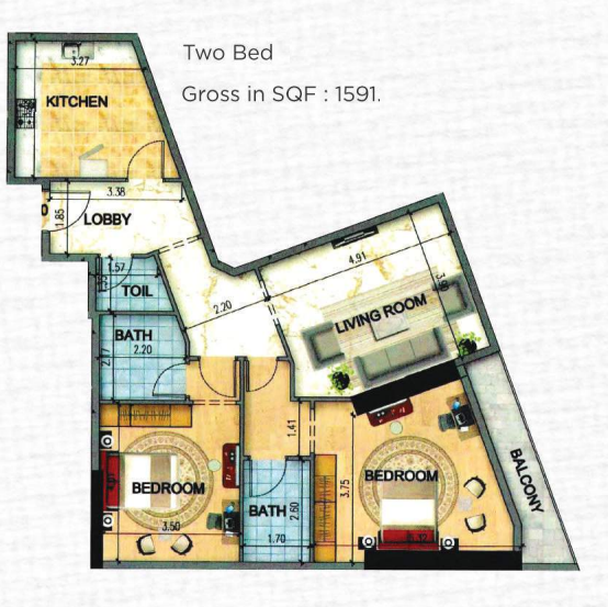 Planning of the apartment 2BR, 1591 in Art Tower Apartments, Sharjah