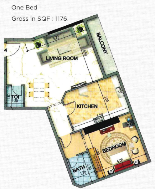 Planning of the apartment 1BR, 1176 in Art Tower Apartments, Sharjah