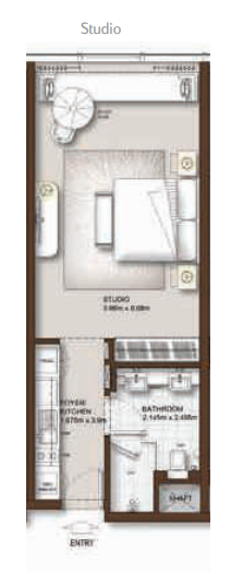 Planning of the apartment Studios, 507 in The Palm Tower, Dubai